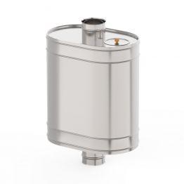 Бaк на трубе для печи Ф115,  50л., 0,8 мм нержавейка зеркальная