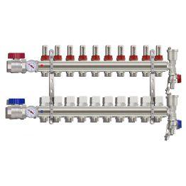 Коллекторная группа TIM (ka010) 10 вых 1х3/4 , с расходомерами, кранами, термометрами, латунь