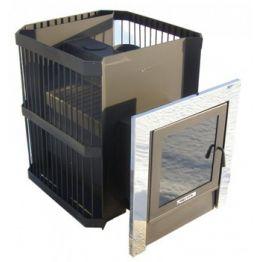 Печь банная Синара Куба Порта Скала 2014 антрацит (до 25м3) (сетка со стальной дверкой и стеклом)