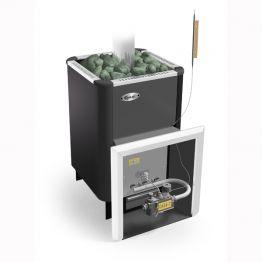 Банная печь Ермак Уралочка 20 с газовой автоматикой черный металл