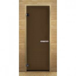 Дверь стекло  Бронза, 1900х700мм, (6мм, 2 петли 716) (Магнит) (ХВОЯ)